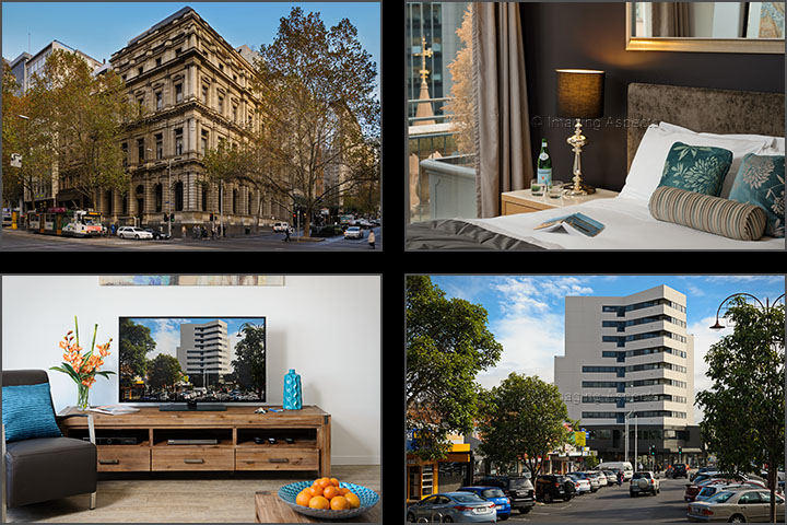 Interior and exterior photographs of Park Avenue's serviced apartments in Collins Street Melbourne and Kingsway, Glen Waverley, Victoria.