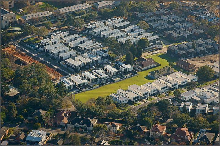 Aerial photograph of contemporary architect designed housing development in Kew, Victoria.