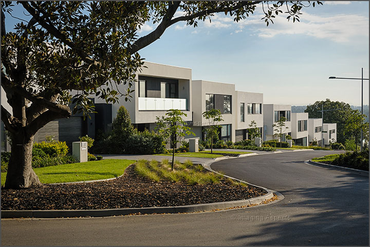 Row of contemporary architect designed houses in Kew, Victoria.