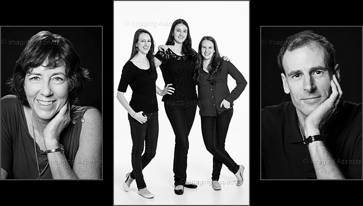 Studio based family portraits of mum, dad and three daughters on black and white backgrounds.